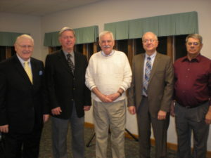 Founding board members Robert Wyne, Fred Walker, Robert Barry, Ted Leas, and Rod Black attended a 2012 Foundation celebration.
